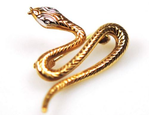 Yellow Gold Snake | Brooch